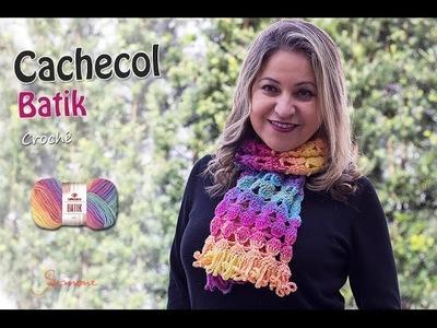Cachecol de Crochê Batik - Inverno - Professora Simone