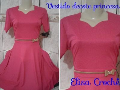 Costurando vestido com decote princesa e saia meio gode #Corte, costura e modelagem com Elisa Crochê