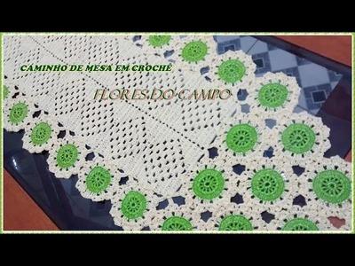 Caminho de mesa em crochê Flores do campo completo