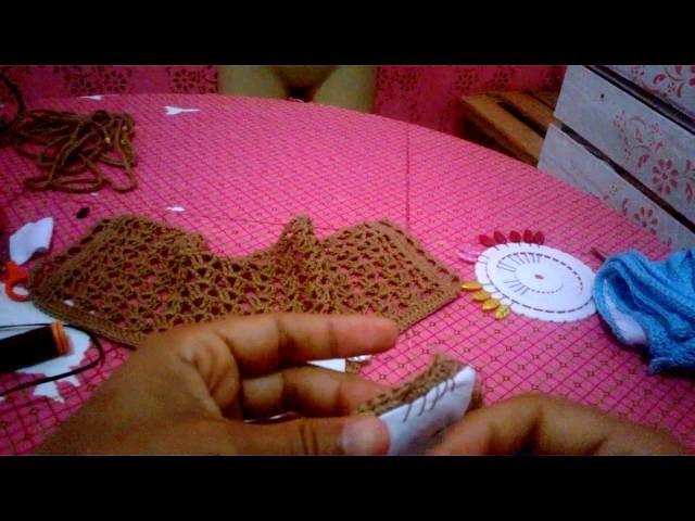 Como colocar forro em biquíni de crochê