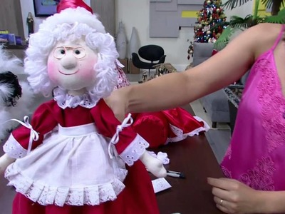 Mulher.com - 15.12.2015 - Boneca mamãe noel de garrafa pet - Luciane Valeria PT2