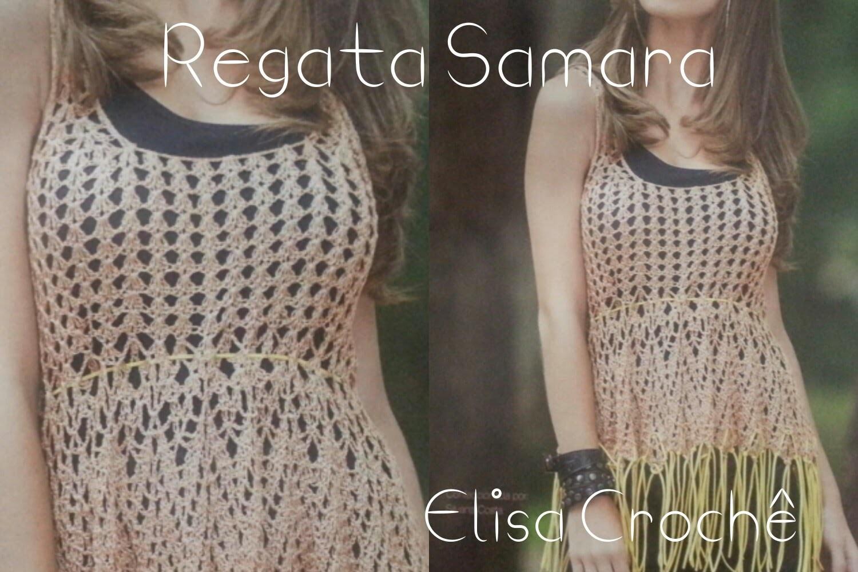 Versão canhotos : Regata Samara em crochê ( alças ) # Elisa Crochê