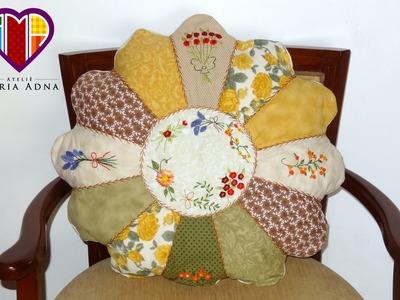 Almofada em patchwork de Gomos - Maria Adna Ateliê - Cursos e aulas de patchwork - Almofadas