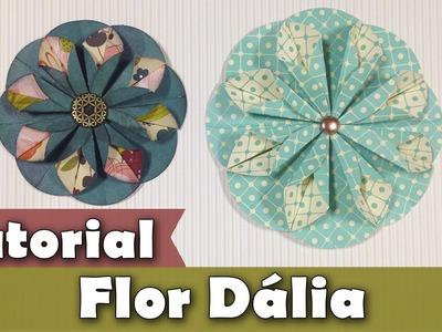 Como fazer flor de papel de scrap | Dália | Tutorial | PAP