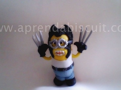 Minion Wolverine em biscuit (porcelana fria)
