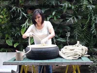 Tutorial Casa e Jardim: Aprenda a fazer um pufe com pneu e corda