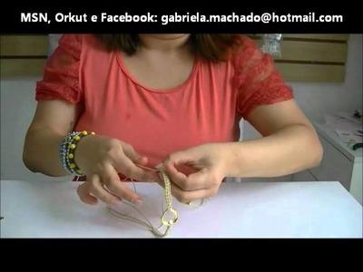 AnaGGabriela - Vídeo Aula 13 - Pulseira macramê com cordão encerado, entremeio dourado e resina
