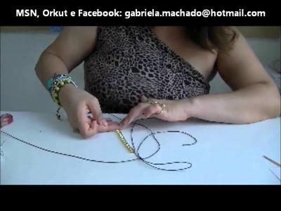 AnaGGabriela - Vídeo Aula 14 - Pulseira macramê com fio de strass e lurex