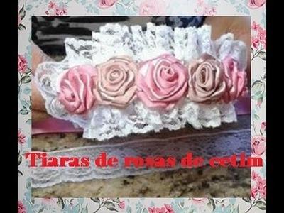 Passo a passo de tiara com rosas de cetim e pérolas.