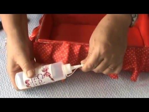 Artesanato com caixa de sapato: Cama baú para Barbie ou porta treco