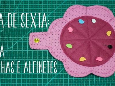Dica de Sexta - Porta agulhas e alfinetes com molde (Tutorial Patchwork)