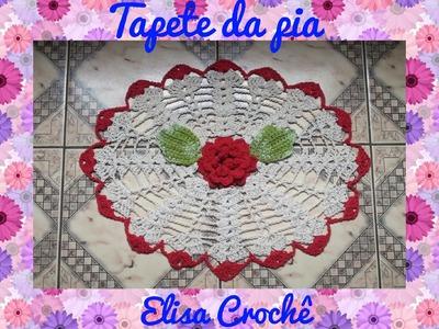 Jogo de banheiro rosa vermelha : Tapete da pia # Elisa Crochê