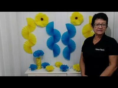 Aula 73 - Como fazer flores de papel de seda e compor mesa de festa!