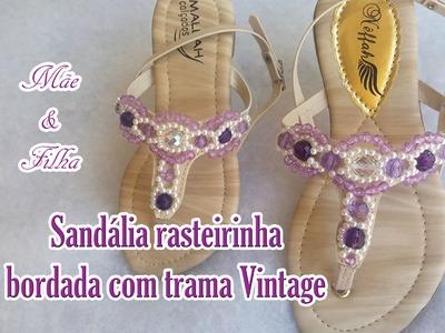 Sandália rasteirinha bordada com cristais e pérolas (mãe e filha)