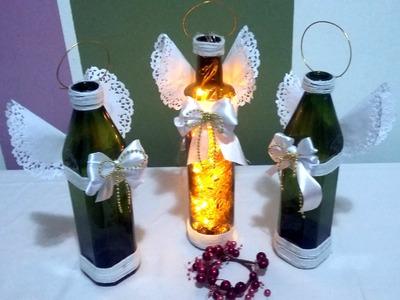 Anjos de Natal com Garrafa de Vidro