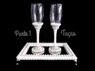 Taças para casamento - lembrança madrinha brinde noiva