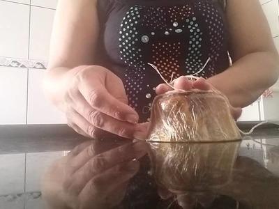 Como fazer cestinha de barbante em casa #DIY