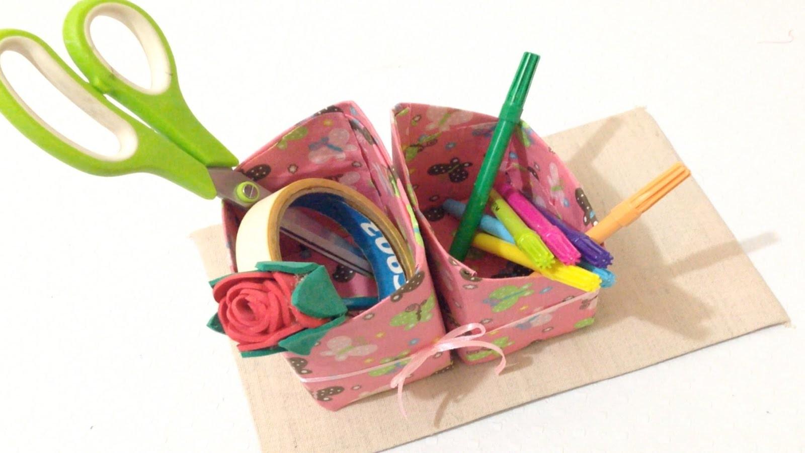 Como Fazer Porta Trecos feito com Caixas de Leite - DIY Artesanato