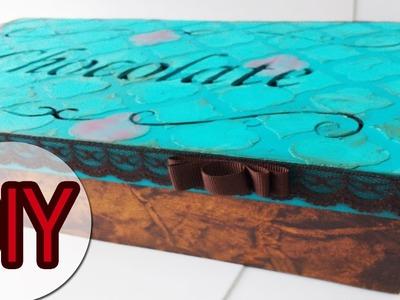 DIY - Caixa de Chocolate Retrô com textura e imitação de couro
