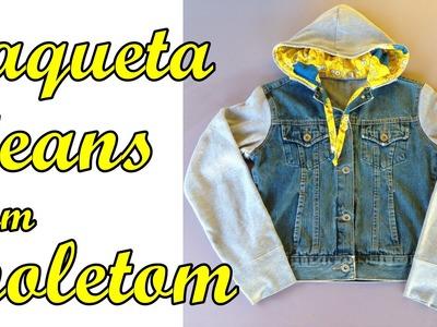 Jaqueta jeans com moletom Diy - Suellen Redesign