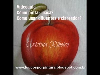 Dicas de pintura grátis. Como pintar maçã vermelha? Como usar clareador e diluentes?