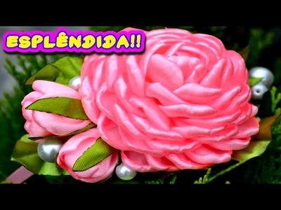Flor Esplêndida de Fita de Cetim - Aprenda a Fazer Acompanhando Este Passo a Passo DIY