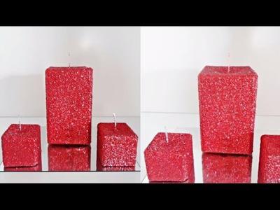 Aprenda a fazer vela natalina com glitter