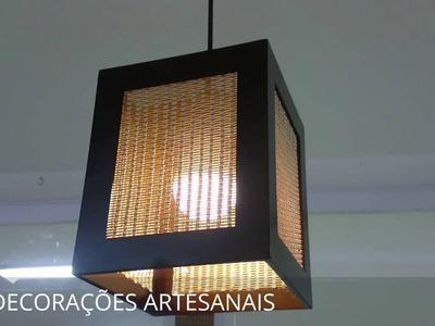 Luminária De Teto Artesanal Revestida Em Fibra