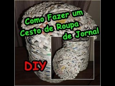 Como Fazer Cesto de roupa com  jornal Roupeiro
