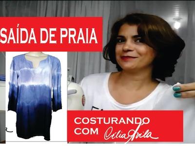 DIY: SAÍDA DE PRAIA DEGRADÊ TIE DYE  - COSTURANDO COM CÉLIA ÁVILA