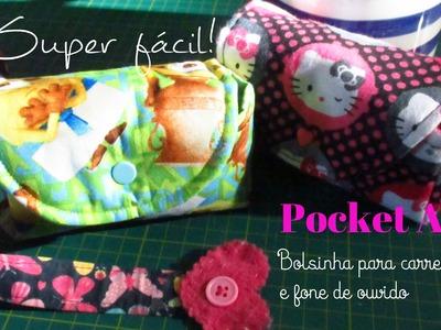 Pocket Aula | Bolsinha Fácil para carregador e fone de ouvido | Minha Mãe na Costura |