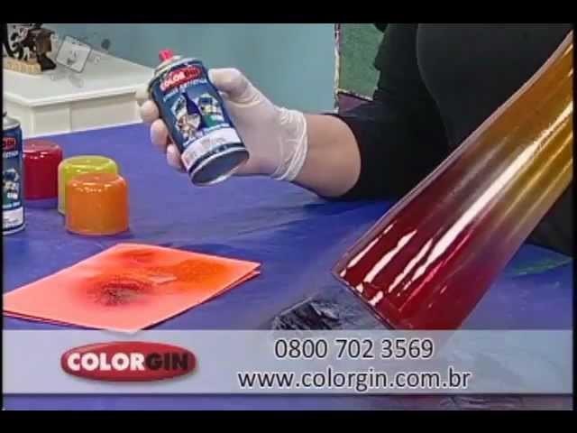 Colorgin no Ateliê na TV - Customização em garrafa de vidro