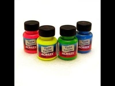 Dicas de como usar tintas fluorescentes acrilex, em folhas