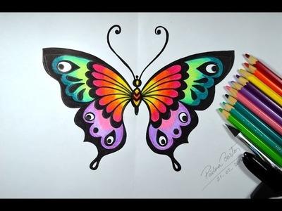 Como desenhar Borboleta Colorida - passo a passo