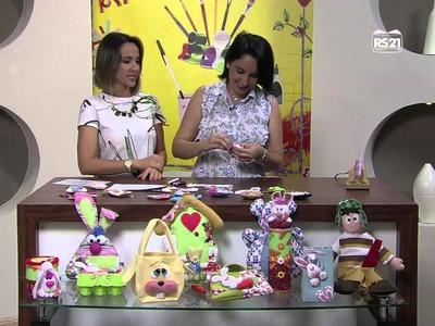 Mulher.com 31.01.2013 Priscila Cunha - Chaveiro ovelhinha  parte 2