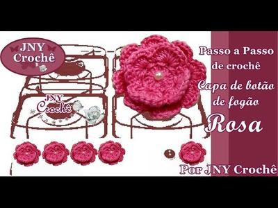 PAP Capa de botão de fogão de crochê Flor Rosa - JNY Crochê