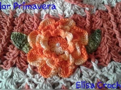 Versão destros: Flor  primavera em Crochê # Elisa Crochê