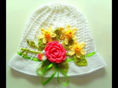 Flores e folhas Para o Chapéu Infantil Em Crochê Parte 3