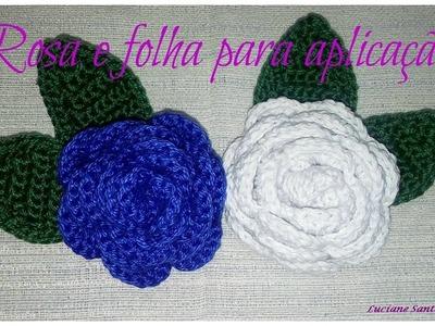 Rosa e folha de crochê para aplicação