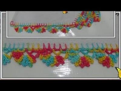Barrado em crochê borboleta na lateral do pano de prato ( PARTE 3 )