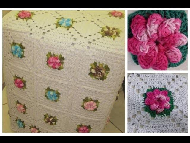 Capa da Máquina de lavar Flor e toalhinha em crochê Parte 03 com Cristina