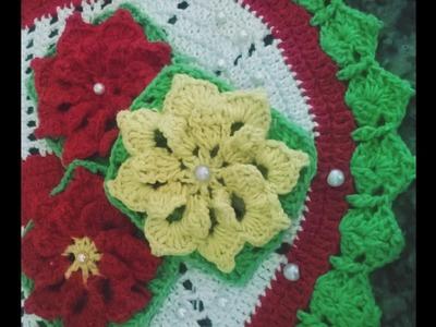 Flor de Crochê Para Aplicação Tapetes