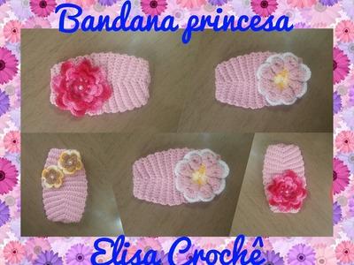 Versão canhotos : Bandana princesa em crochê # Elisa Crochê