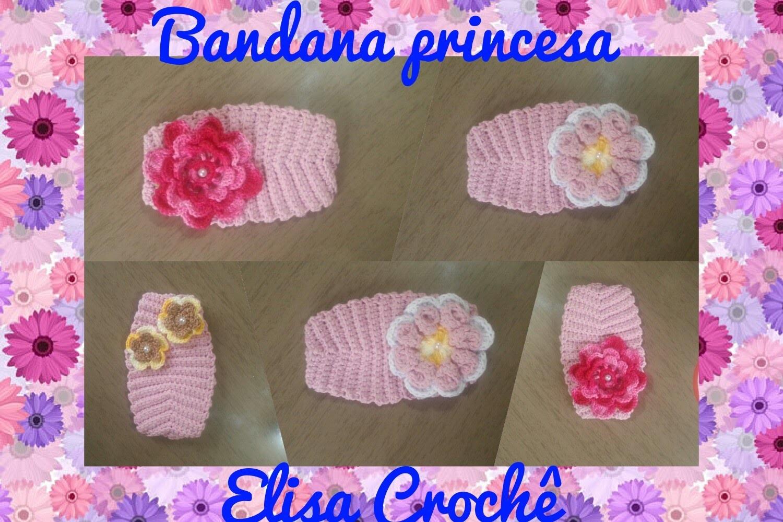 Versao destros: Bandana princesa em crochê # Elisa Crochê