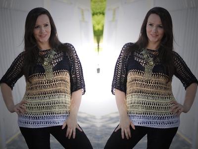 Blusa 4 cores em crochê de grampo - Helen Mareth