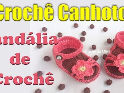 Crochê canhoto: Sandália de crochê para bebe