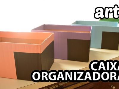 Forrando Caixa de Papelão com Papel :: Caixa Organizadora