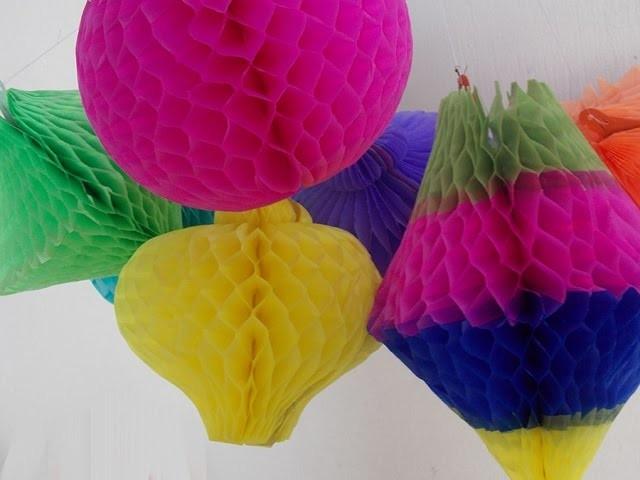 Balões do tipo colmeia -  formas e cores