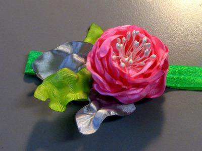 Banda com Rosa de fitas de cetim e  Pistilhos - Passo a Passo