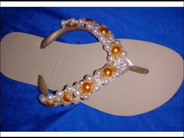 Como fazer sandália bordada com pérolas  dourado ouro com cida reis